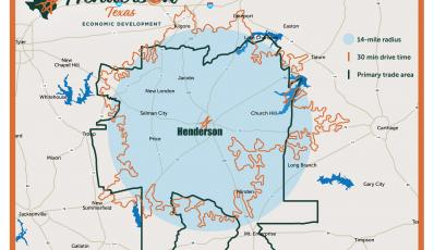 Primary Retail Trade Area and 30 Minute Drive Time Map, Henderson, TX